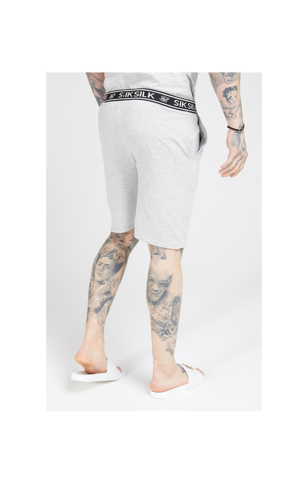 SikSilk Loose Fit Jersey Shorts - Grey Marl (2)