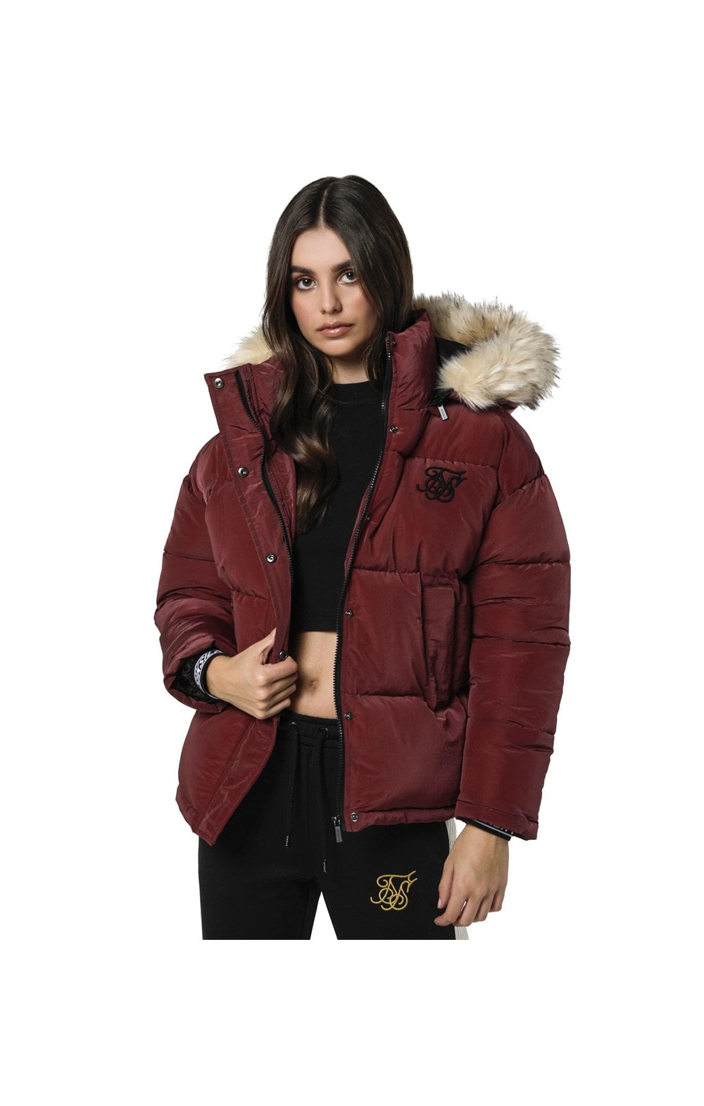 SikSilk Short Parka Jacket - Burgundy
