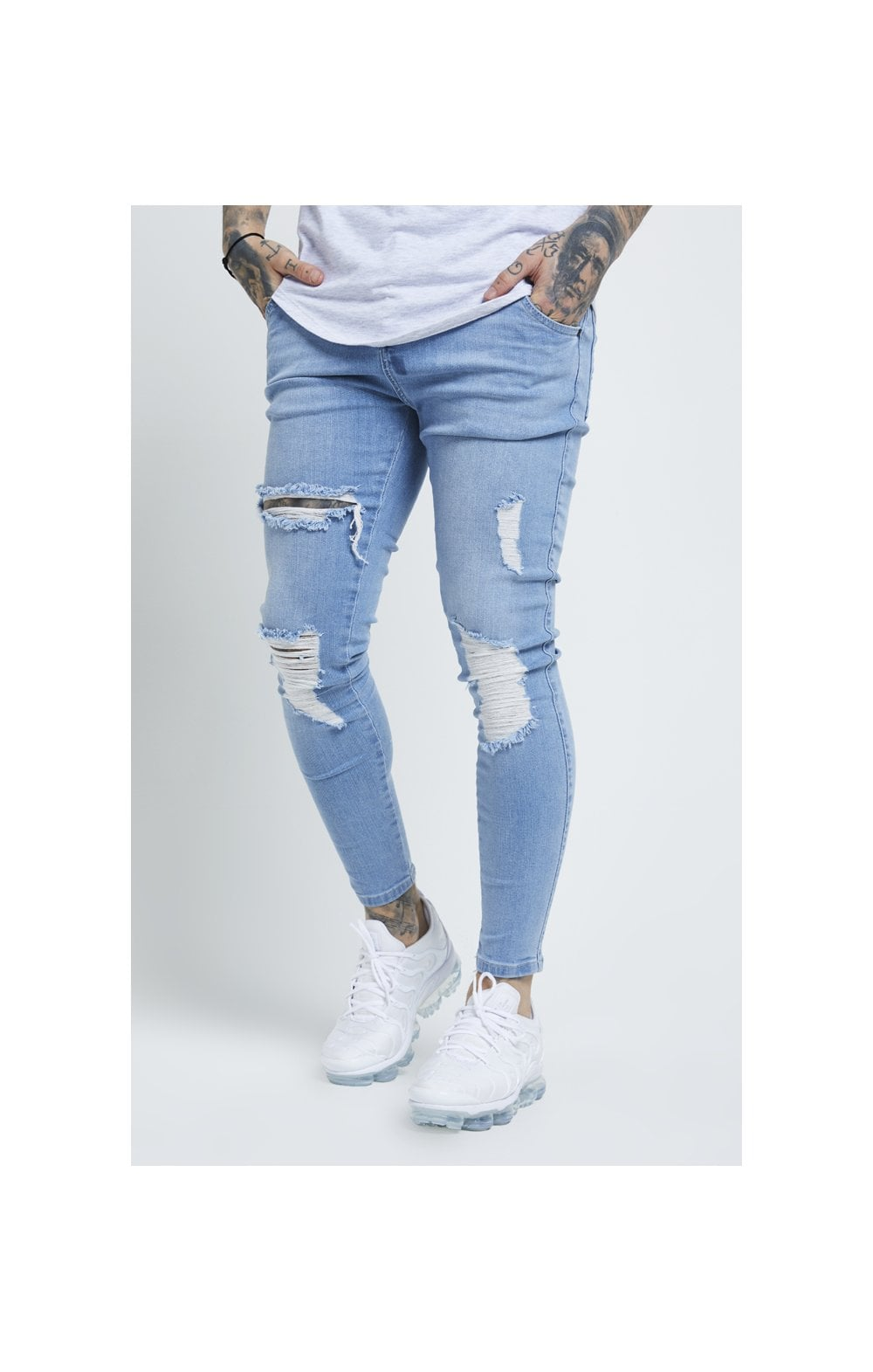 Load image into Gallery viewer, SikSilk Distressed Skinny Jeans – Light Wash