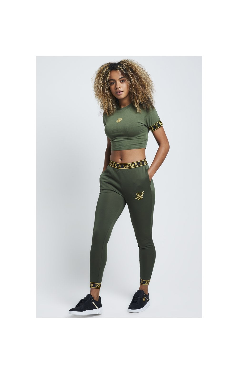 Load image into Gallery viewer, SikSilk Tape Cuff Crop Tee - Bronze Green (1)