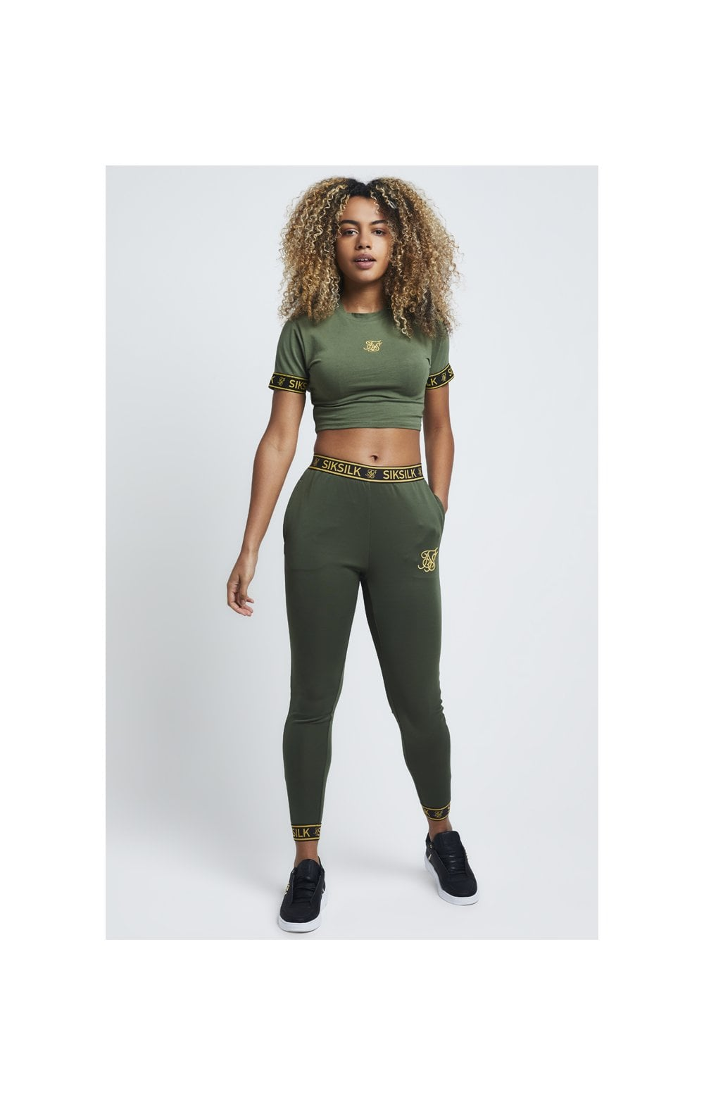 Load image into Gallery viewer, SikSilk Tape Cuff Crop Tee - Bronze Green (2)