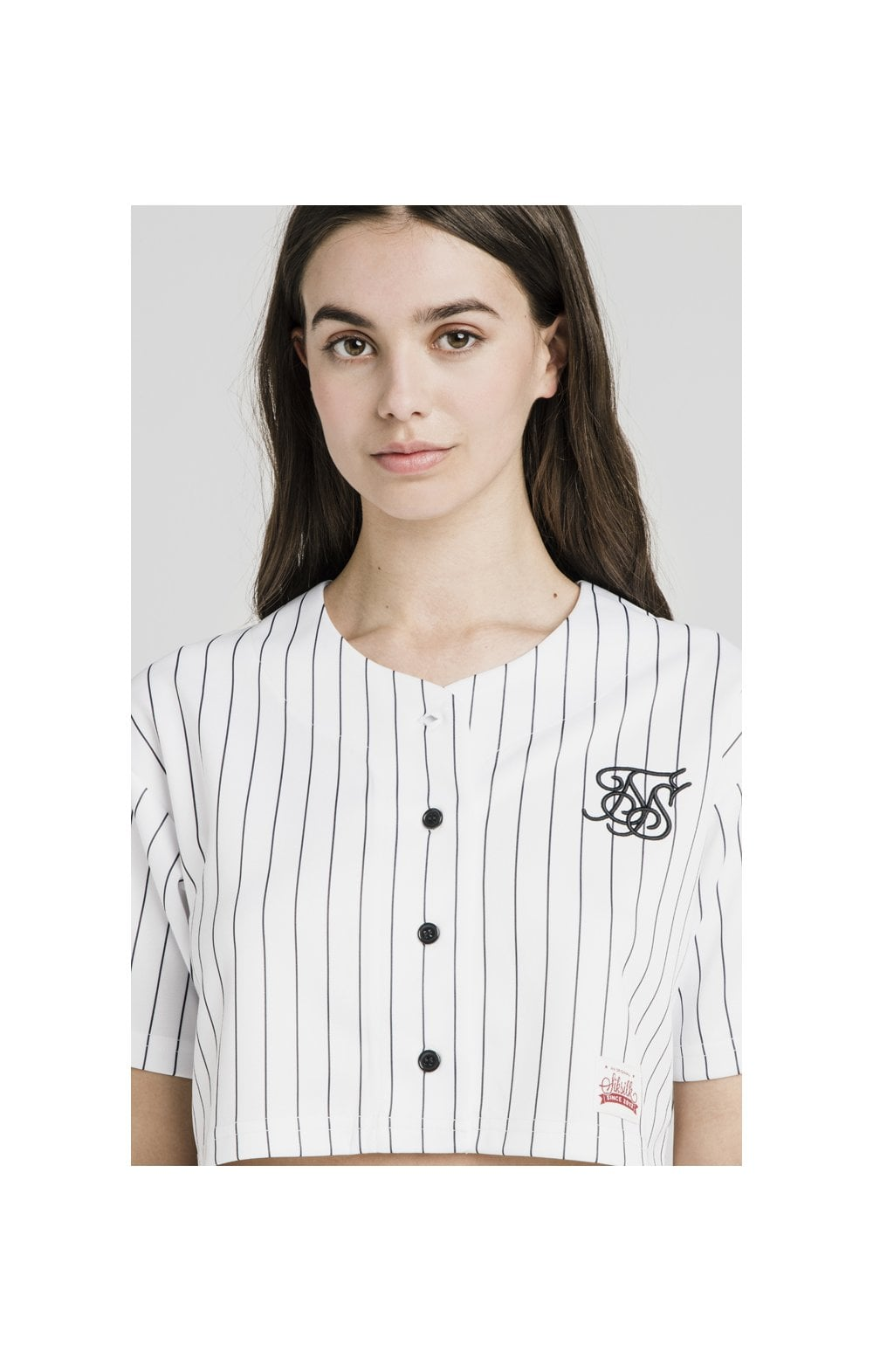 SikSilk Original Baseball Jersey Crop – White
