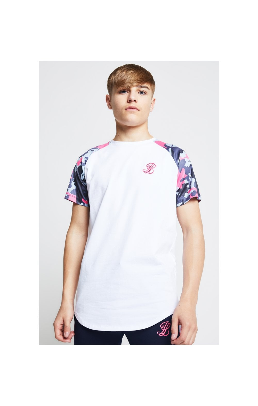 Load image into Gallery viewer, Illusive London Raglan Tee – White & Neon Pink Camo (1)