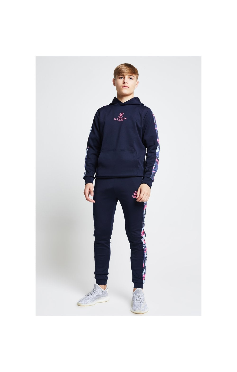 Illusive London Panelled Overhead Hoodie - Navy & Neon Pink Camo (5)