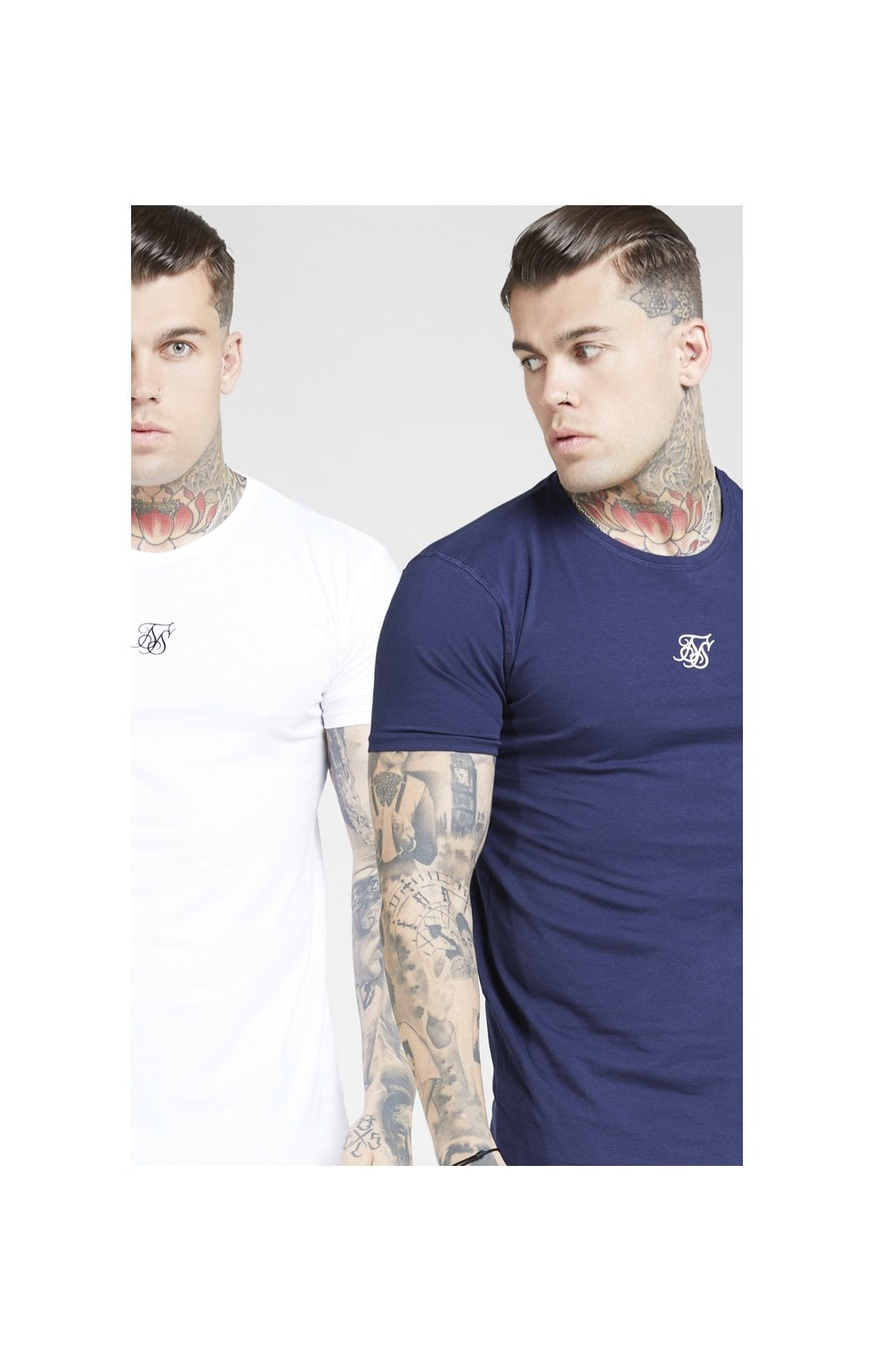 Load image into Gallery viewer, SikSilk Lounge Tee - White & Navy (2 Pack) - 1 White Tee & 1 Navy Tee