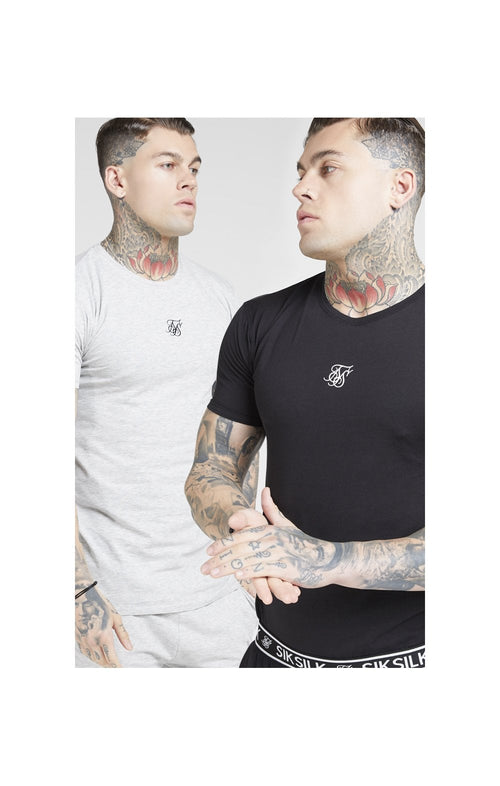 SikSilk Lounge Tee - Black & Grey (2 Pack) - 1 Grey Tee & 1 Black Tee