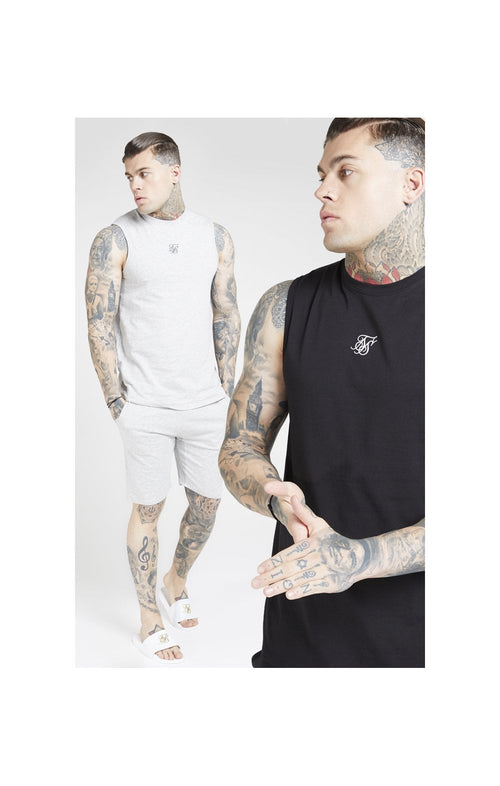 SikSilk Lounge Vest - Black & Grey (2 Pack) - 1 Grey Vest & 1 Black Vest