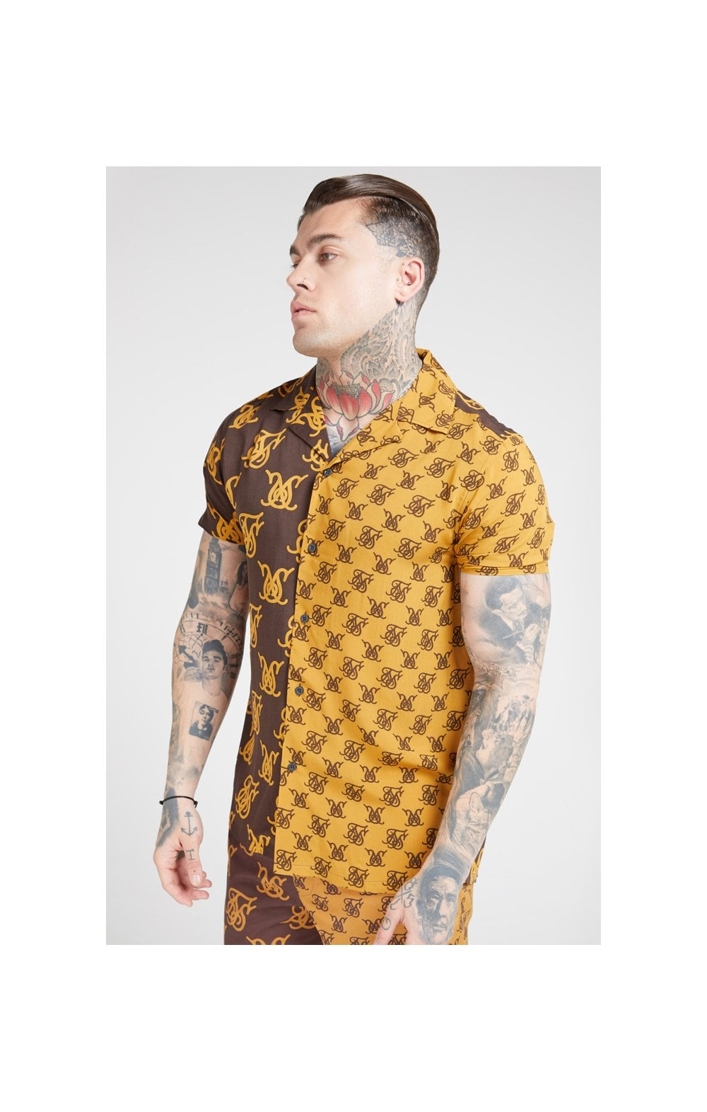 Load image into Gallery viewer, SikSilk S/S Resort Shirt – Tan & Brown (1)