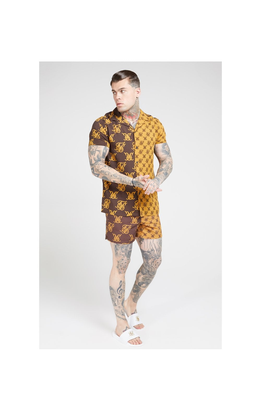 Load image into Gallery viewer, SikSilk S/S Resort Shirt – Tan & Brown (3)