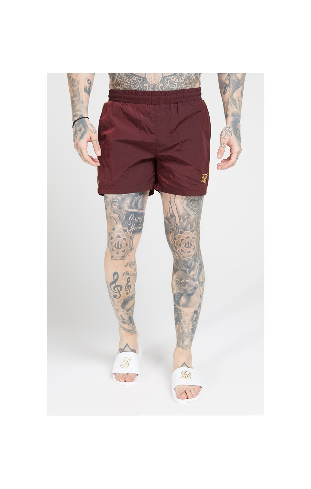 SikSilk Crushed Nylon Tape Shorts – Burgundy & Gold