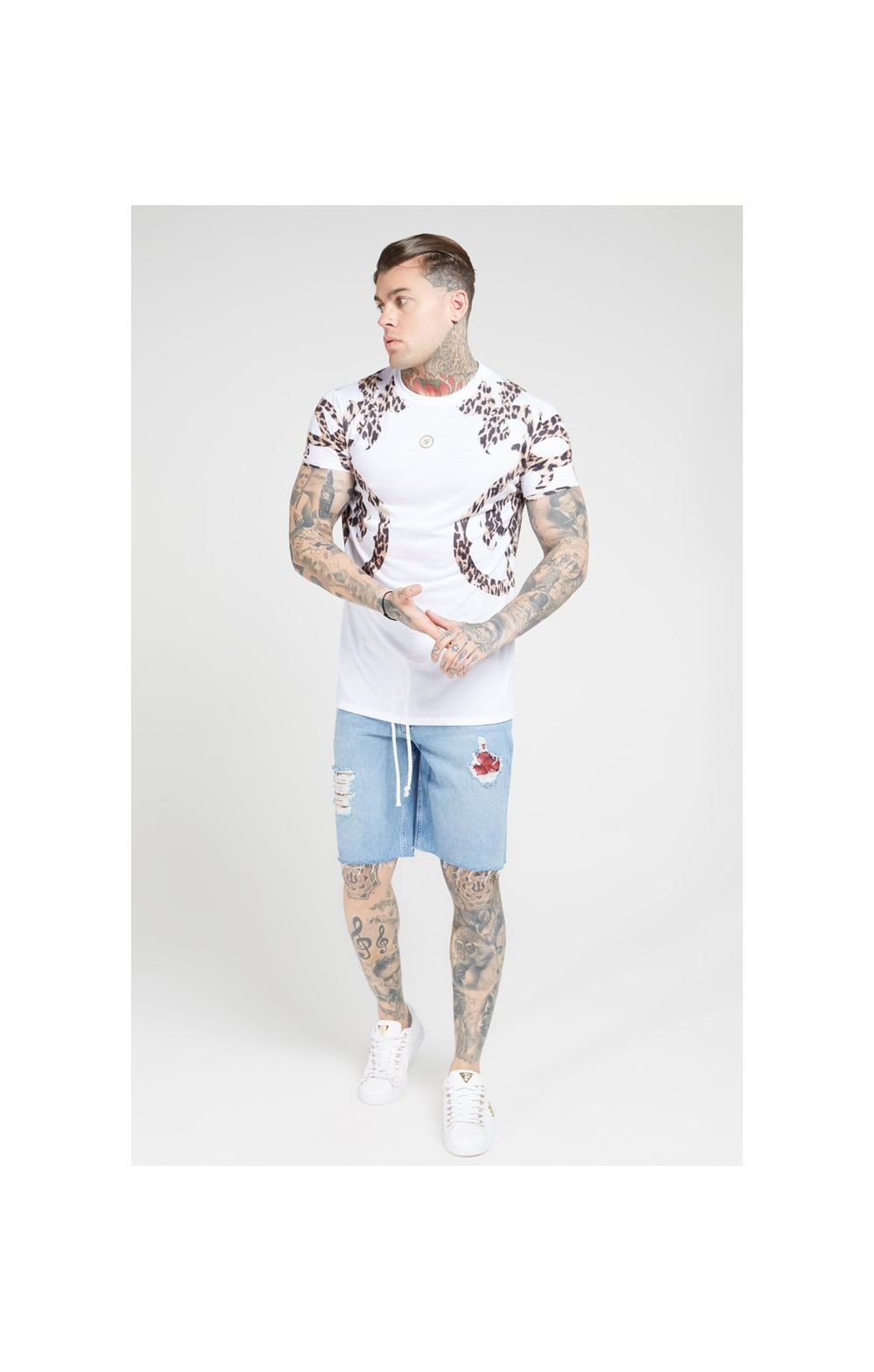 Load image into Gallery viewer, SikSilk S/S Raglan Straight Hem Tee – White (3)