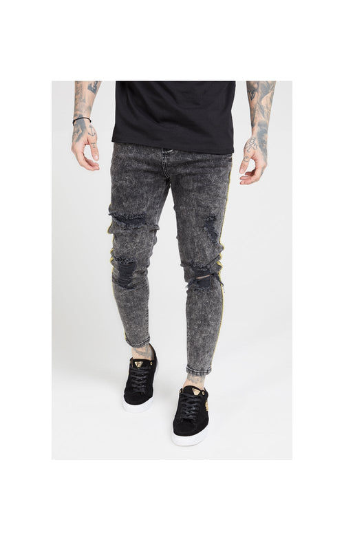 SikSilk Distressed Skinny Taped Denims - Faded Grey