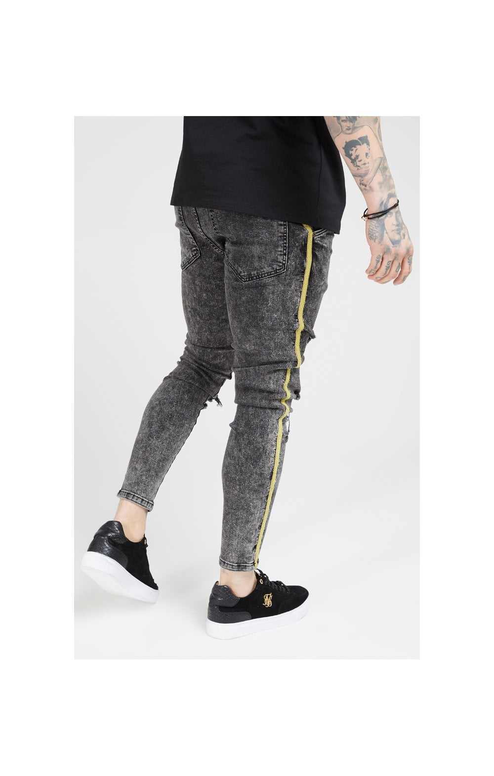 SikSilk Distressed Skinny Taped Denims - Faded Grey (2)