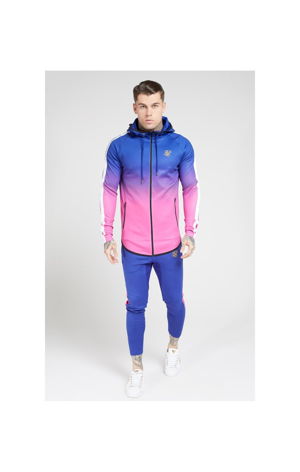 Load image into Gallery viewer, SikSilk Athlete Fade Zip Through Hoodie – Blue Neon (2)