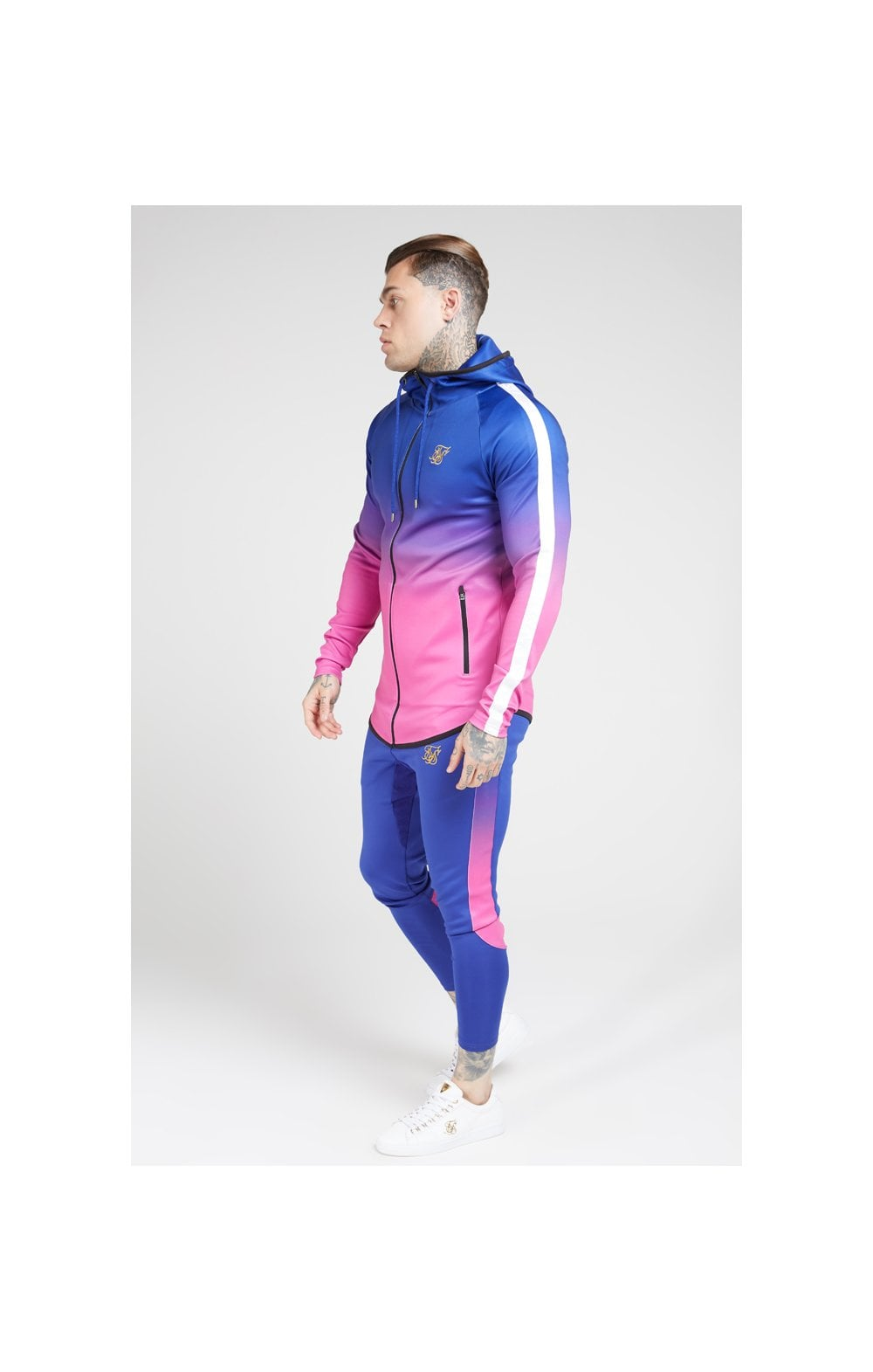 Load image into Gallery viewer, SikSilk Athlete Fade Zip Through Hoodie – Blue Neon (3)