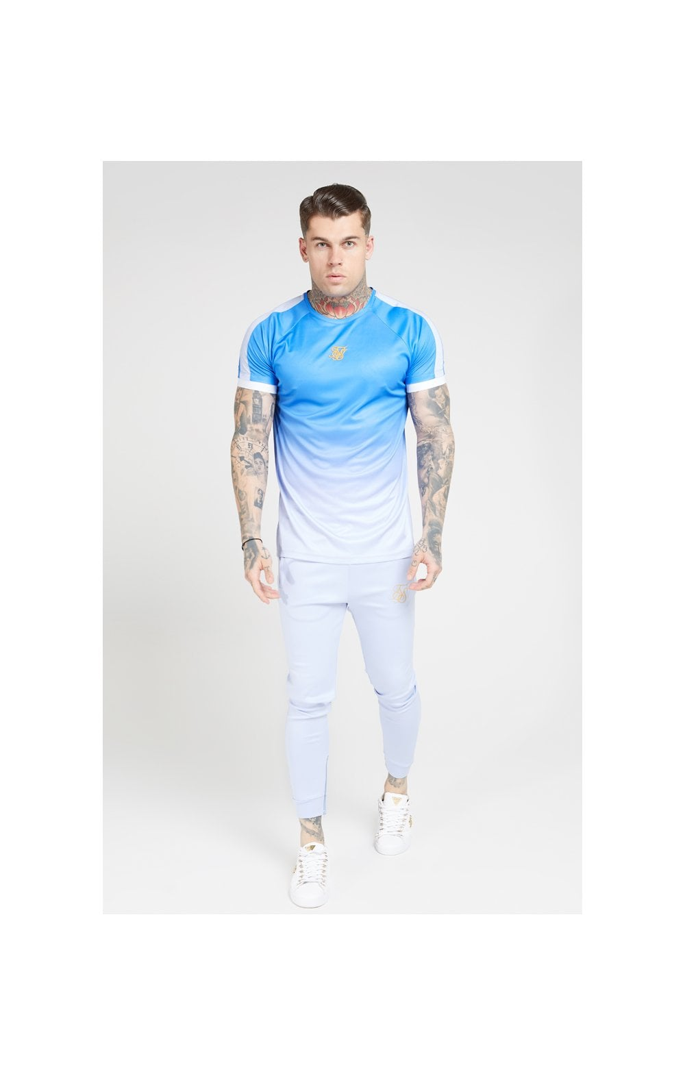 Load image into Gallery viewer, SikSilk S/S Raglan Fade Straight Hem Tee – Blue & Lilac (2)