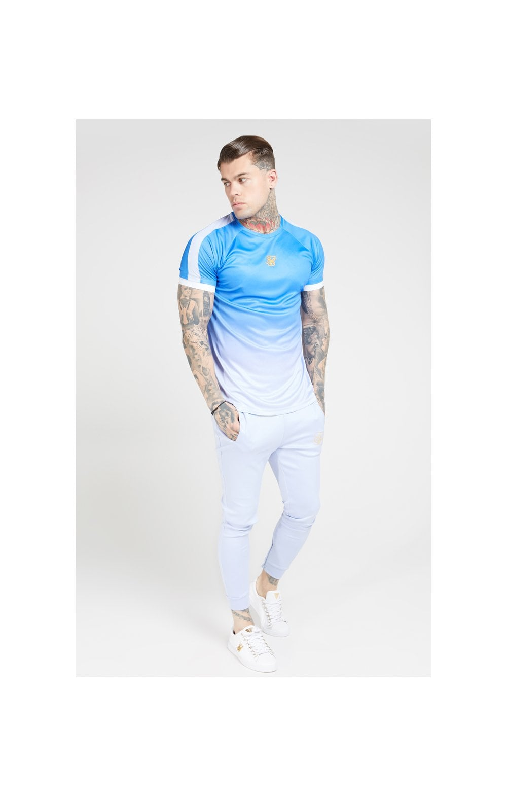 Load image into Gallery viewer, SikSilk S/S Raglan Fade Straight Hem Tee – Blue & Lilac (3)