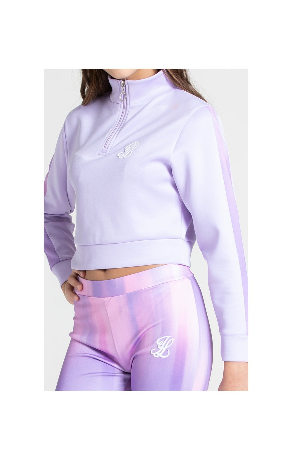 Illusive London Cropped 1/4 Zip Hoodie - Lavender