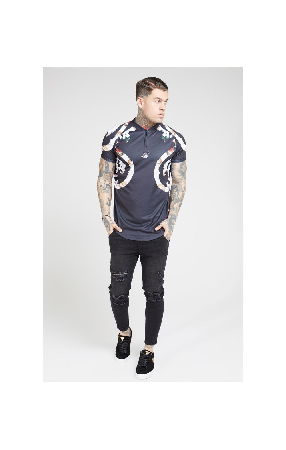 Load image into Gallery viewer, SikSilk Baseball Tee – Jet Black & Floral Elegance (2)