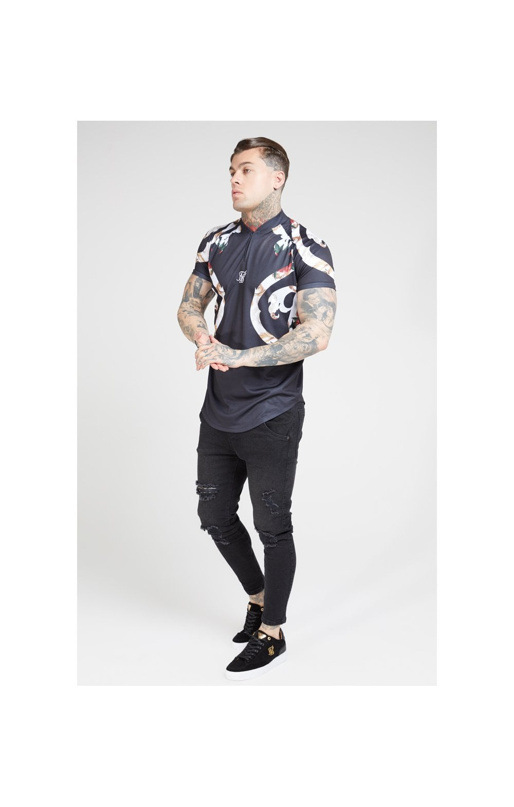 Load image into Gallery viewer, SikSilk Baseball Tee – Jet Black & Floral Elegance (3)