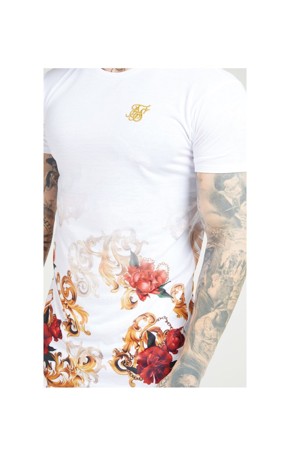 SikSilk S/S Curved Hem Tee – White & Floral Elegance (1)