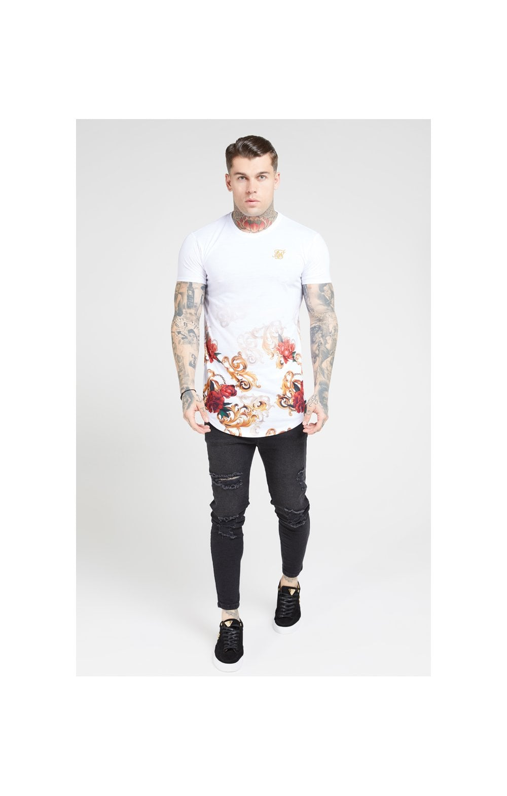 SikSilk S/S Curved Hem Tee – White & Floral Elegance (2)