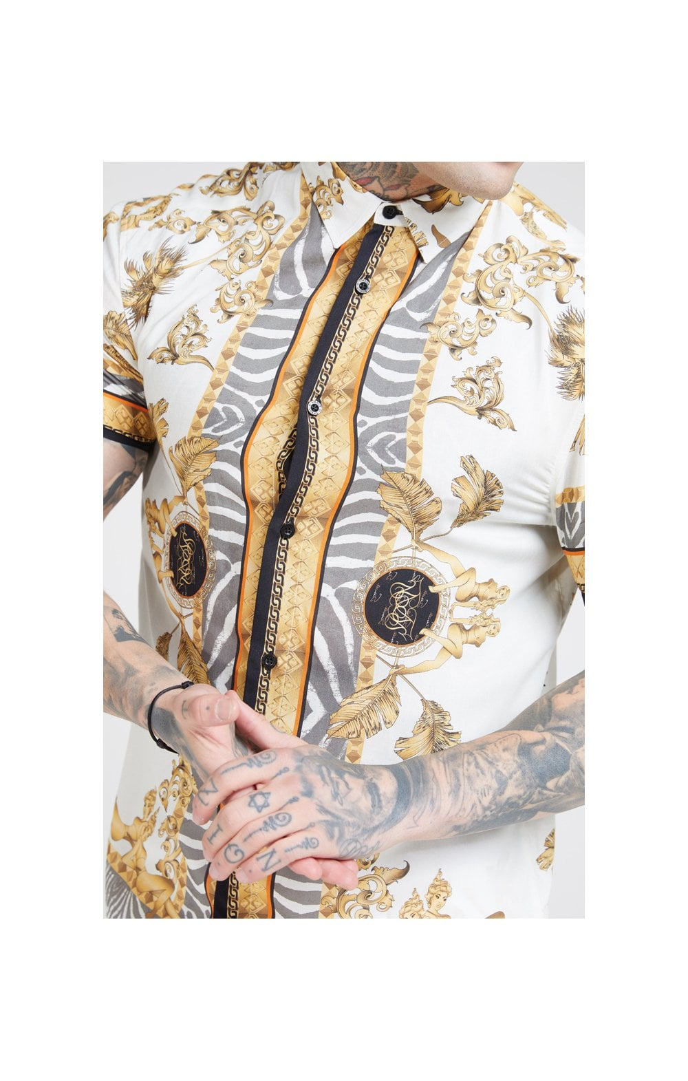 Load image into Gallery viewer, SikSilk High Collar Resort Shirt - Ocean Off White
