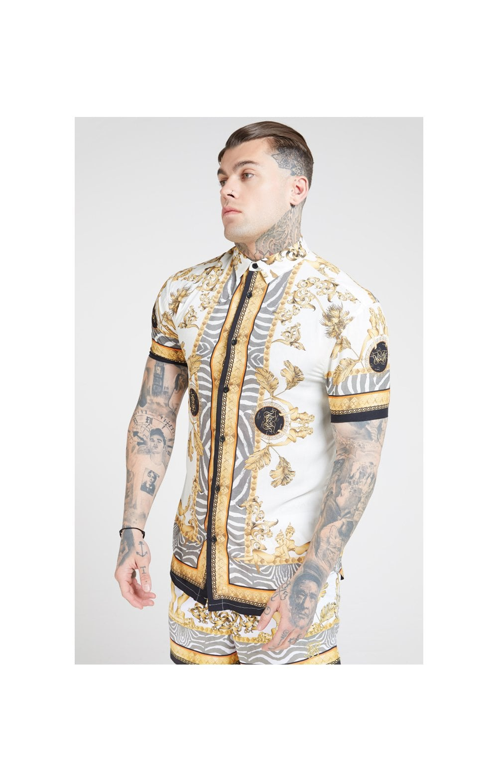 Load image into Gallery viewer, SikSilk High Collar Resort Shirt - Ocean Off White (1)