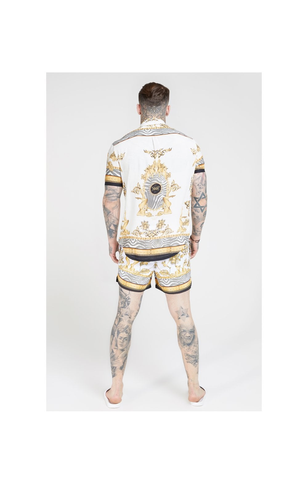 Load image into Gallery viewer, SikSilk High Collar Resort Shirt - Ocean Off White (4)