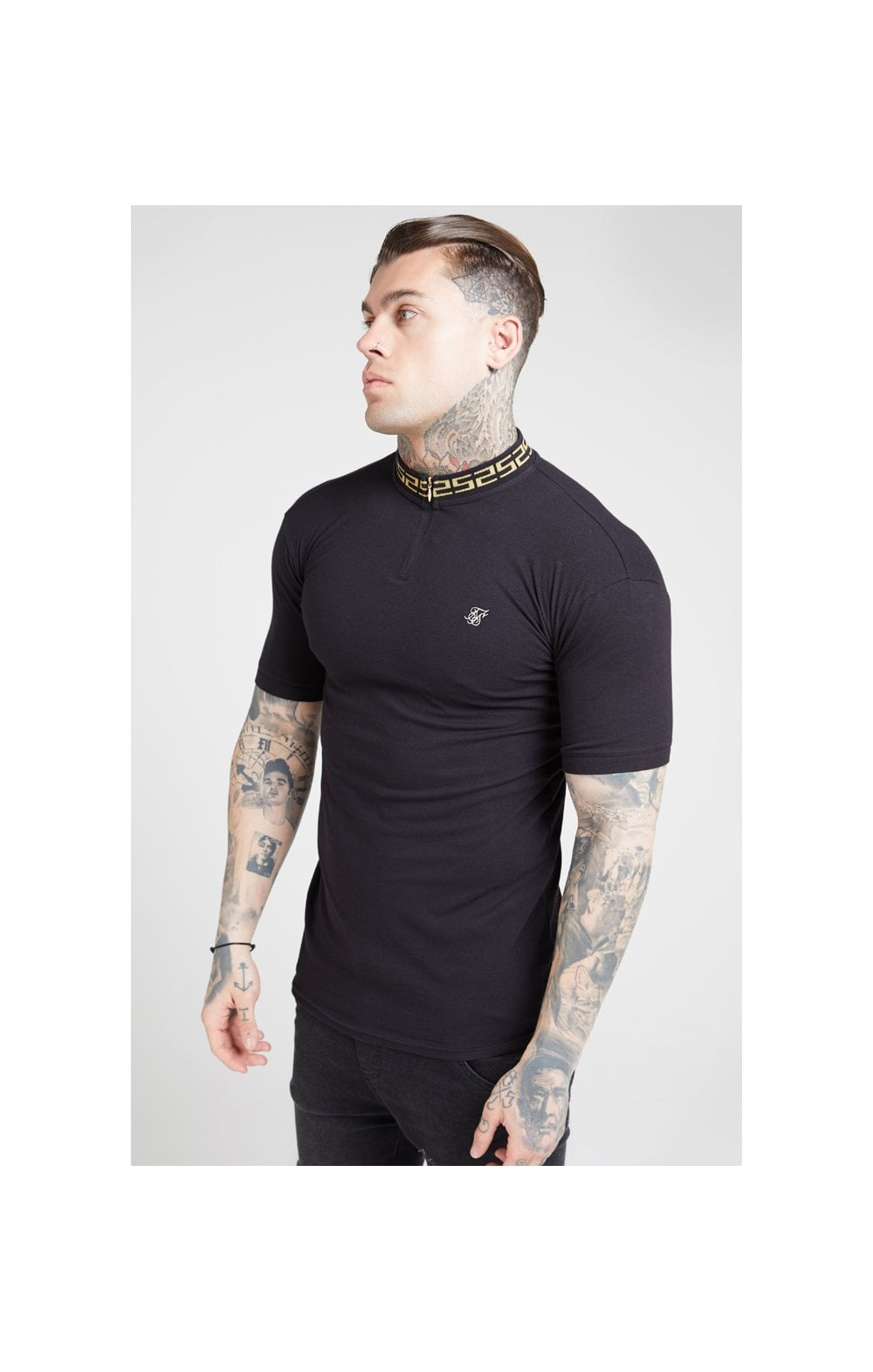 Load image into Gallery viewer, SikSilk S/S Chain Rib Collar Polo – Black (1)