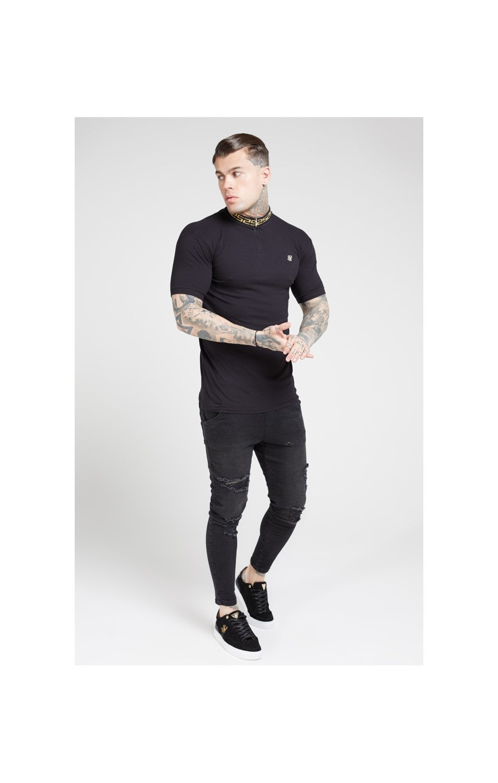 Load image into Gallery viewer, SikSilk S/S Chain Rib Collar Polo – Black (2)