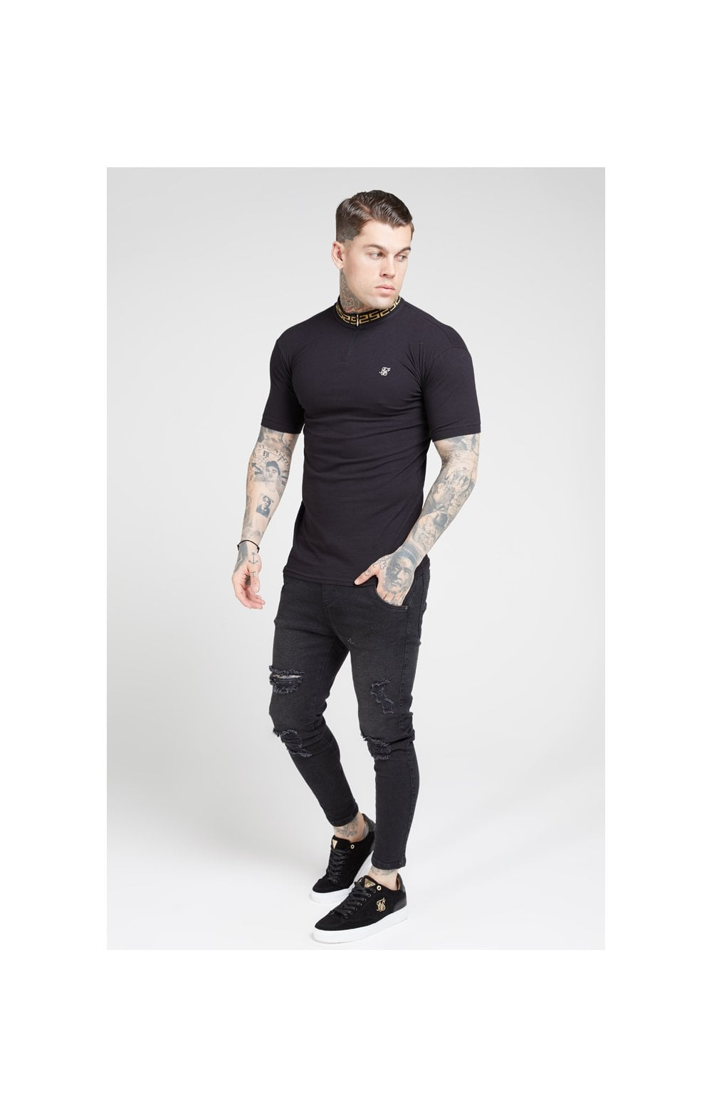 Load image into Gallery viewer, SikSilk S/S Chain Rib Collar Polo – Black (3)