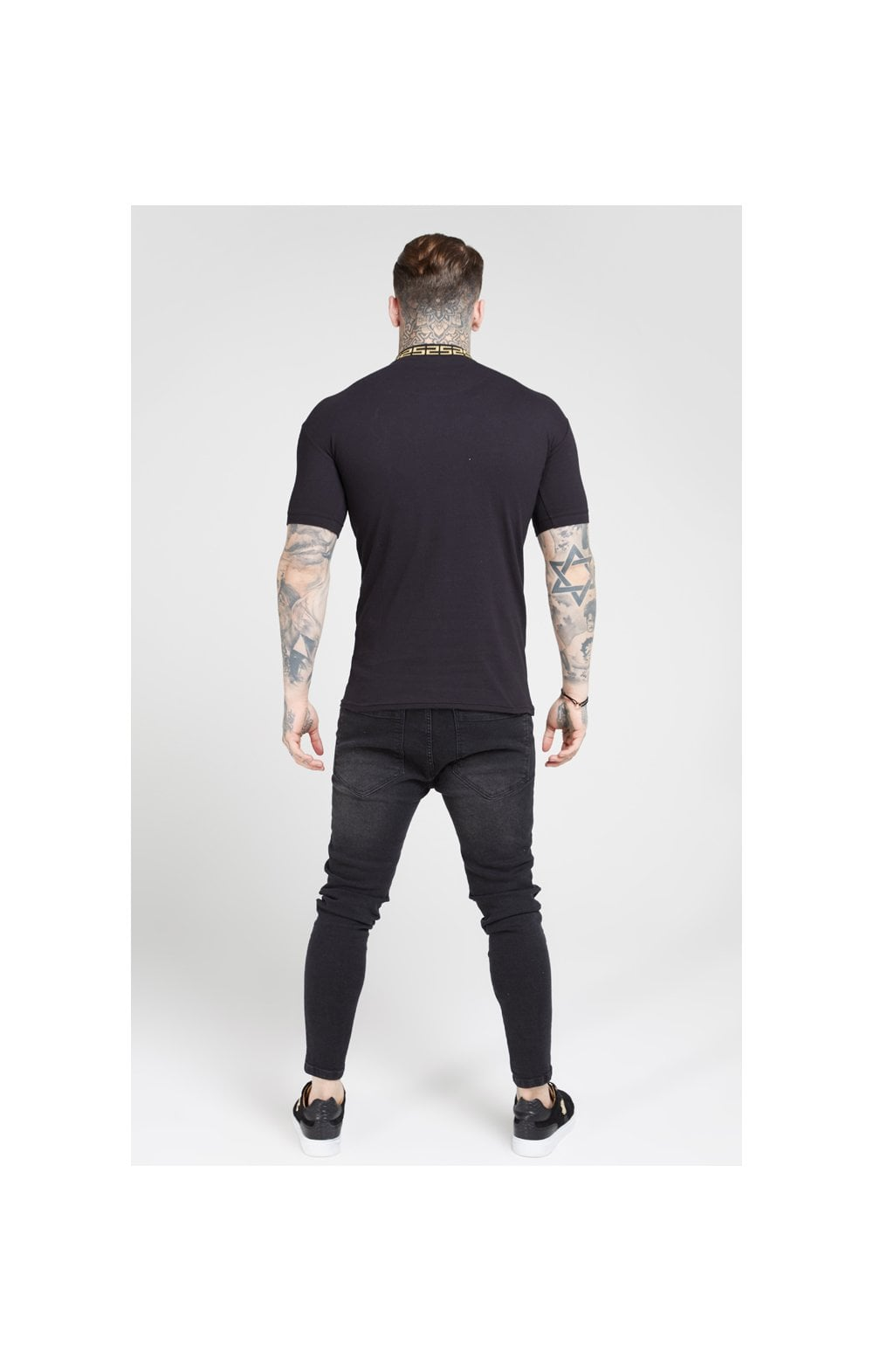 Load image into Gallery viewer, SikSilk S/S Chain Rib Collar Polo – Black (4)