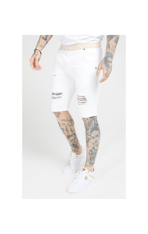 SikSilk Elasticated Waist Distressed Denim Shorts – White