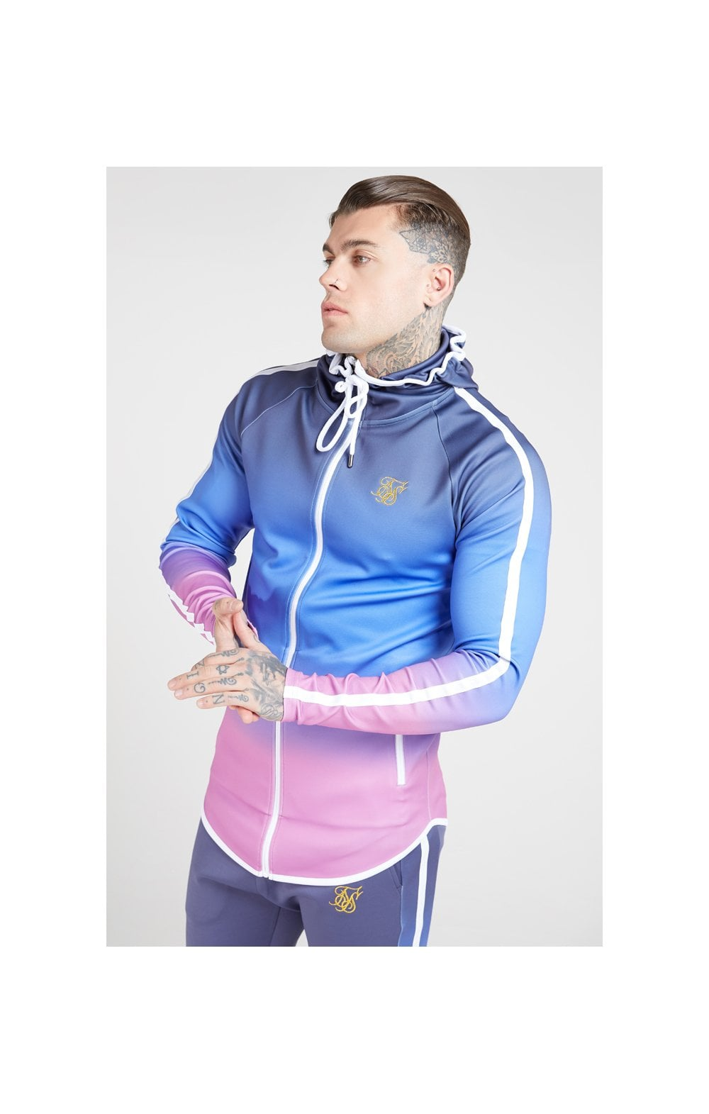 Load image into Gallery viewer, SikSilk Athlete Zip Through Fade Hoodie – Tri-Neon Fade