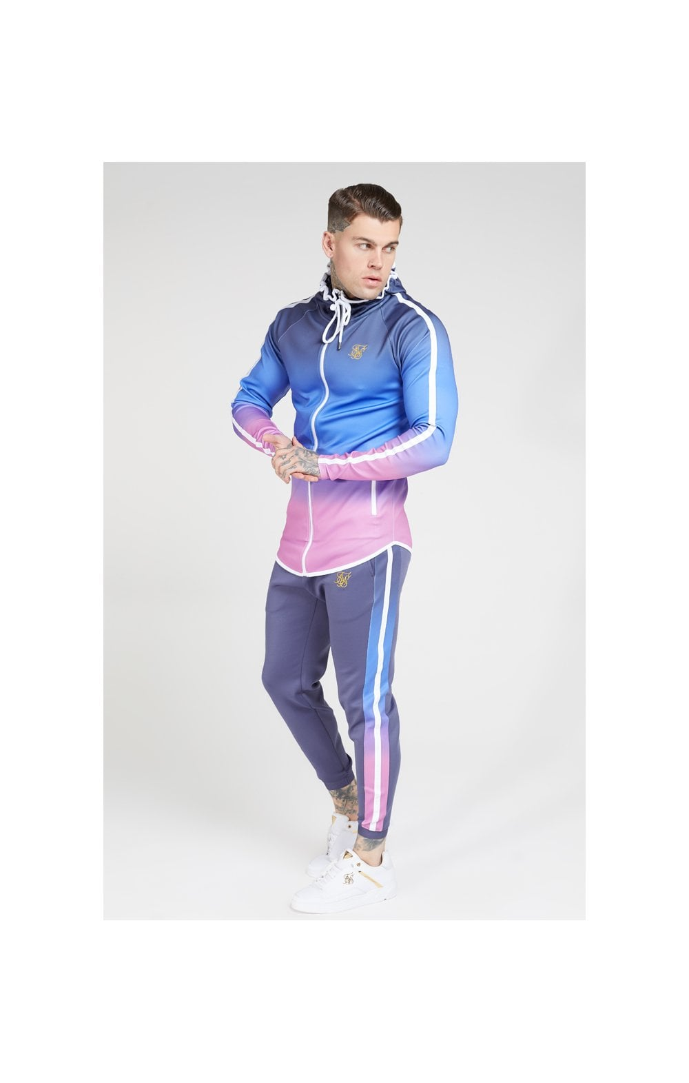 Load image into Gallery viewer, SikSilk Athlete Zip Through Fade Hoodie – Tri-Neon Fade (2)