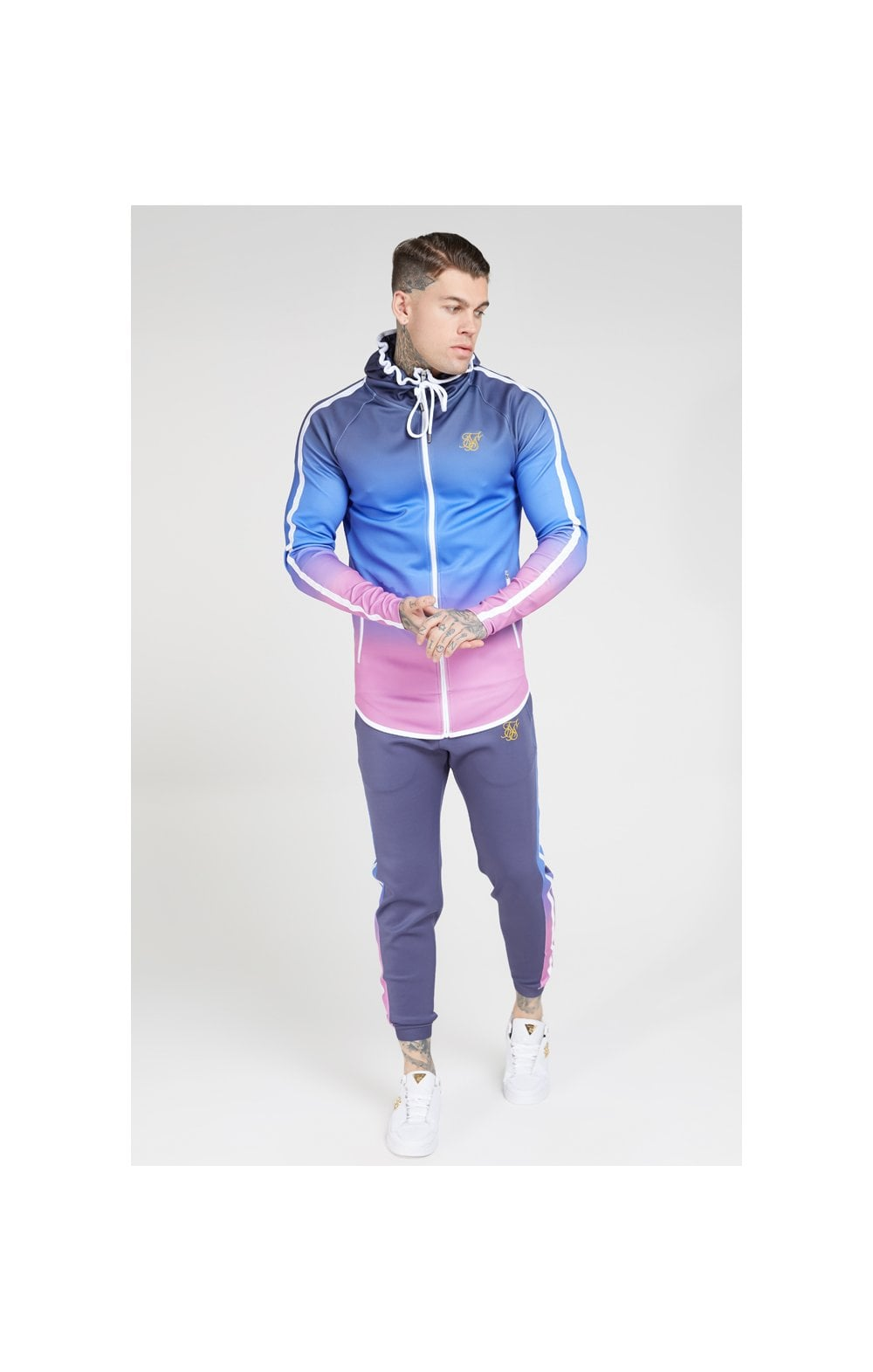 Load image into Gallery viewer, SikSilk Athlete Zip Through Fade Hoodie – Tri-Neon Fade (3)