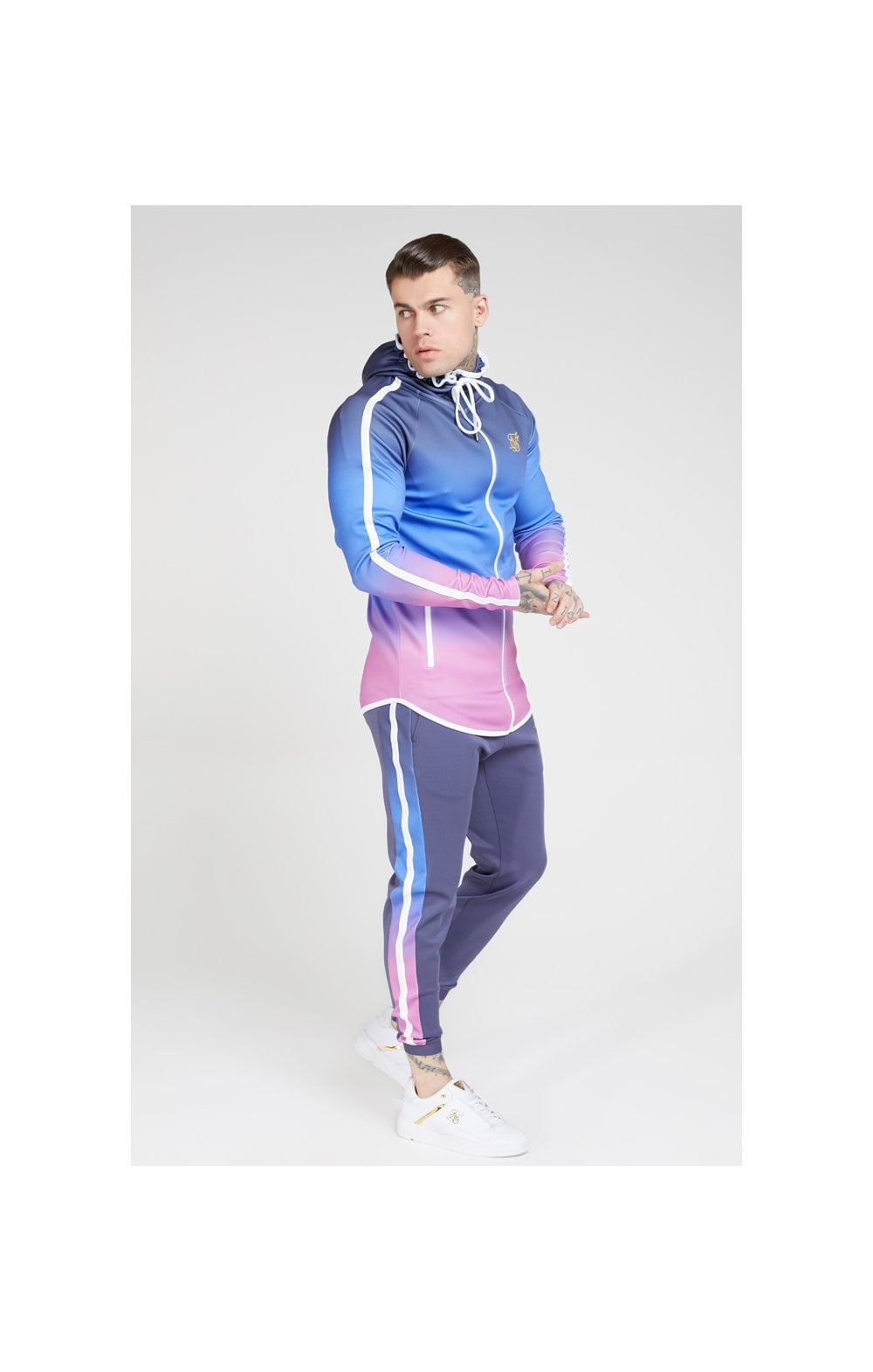 Load image into Gallery viewer, SikSilk Athlete Zip Through Fade Hoodie – Tri-Neon Fade (4)