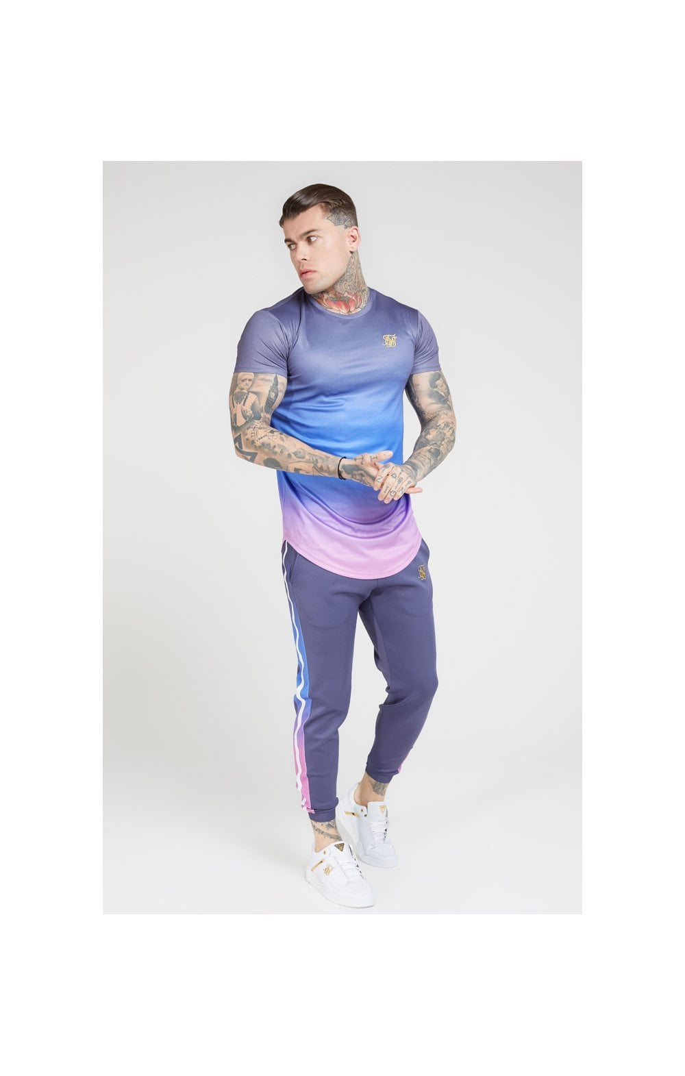 Load image into Gallery viewer, SikSilk S/S Curved Hem Fade Tee – Tri-Neon Fade (2)