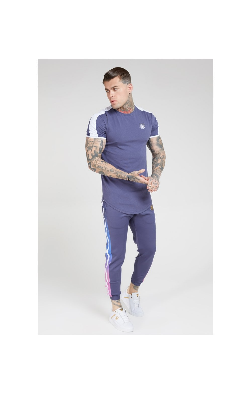 SikSilk Fitted Fade Cuffed Pants – Tri-Neon Fade (4)