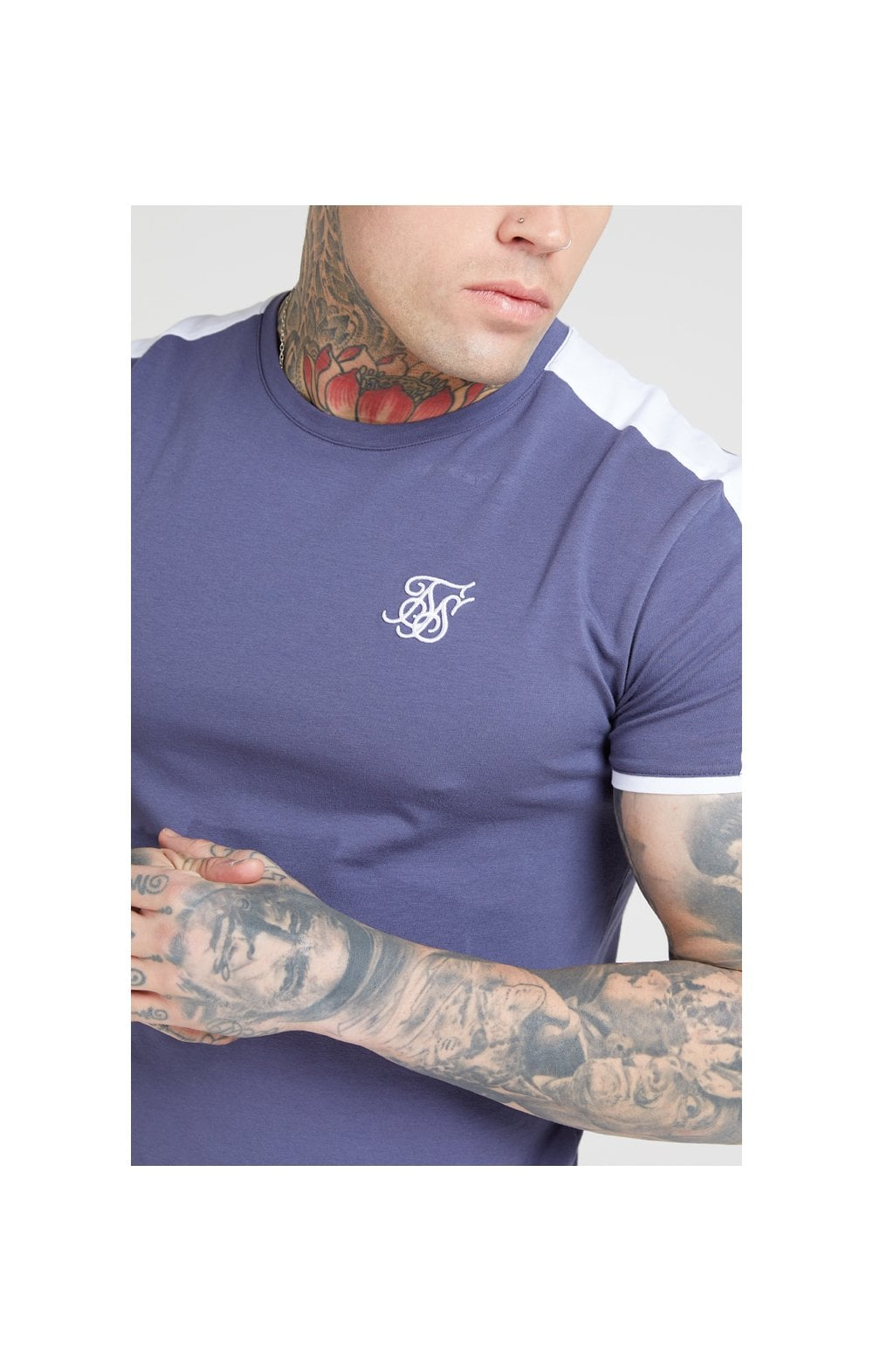 SikSilk S/S Panel Gym Tee – Ocean Slate (1)