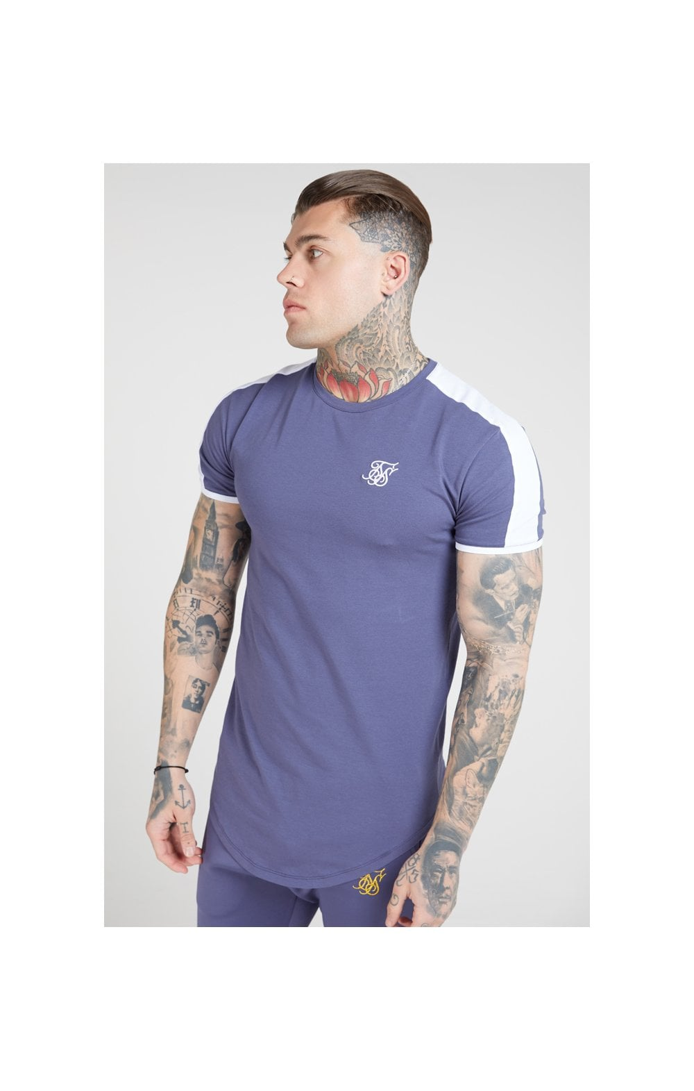 SikSilk S/S Panel Gym Tee – Ocean Slate