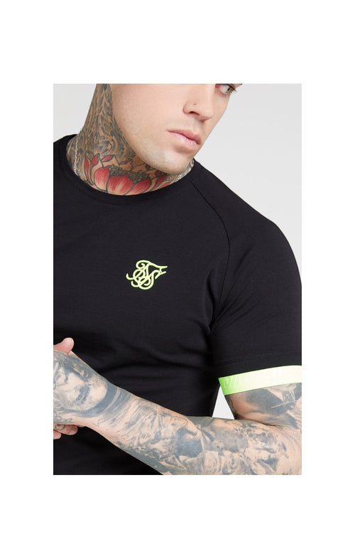 SikSilk S/S Neon Tech Tee – Black & Neon Yellow