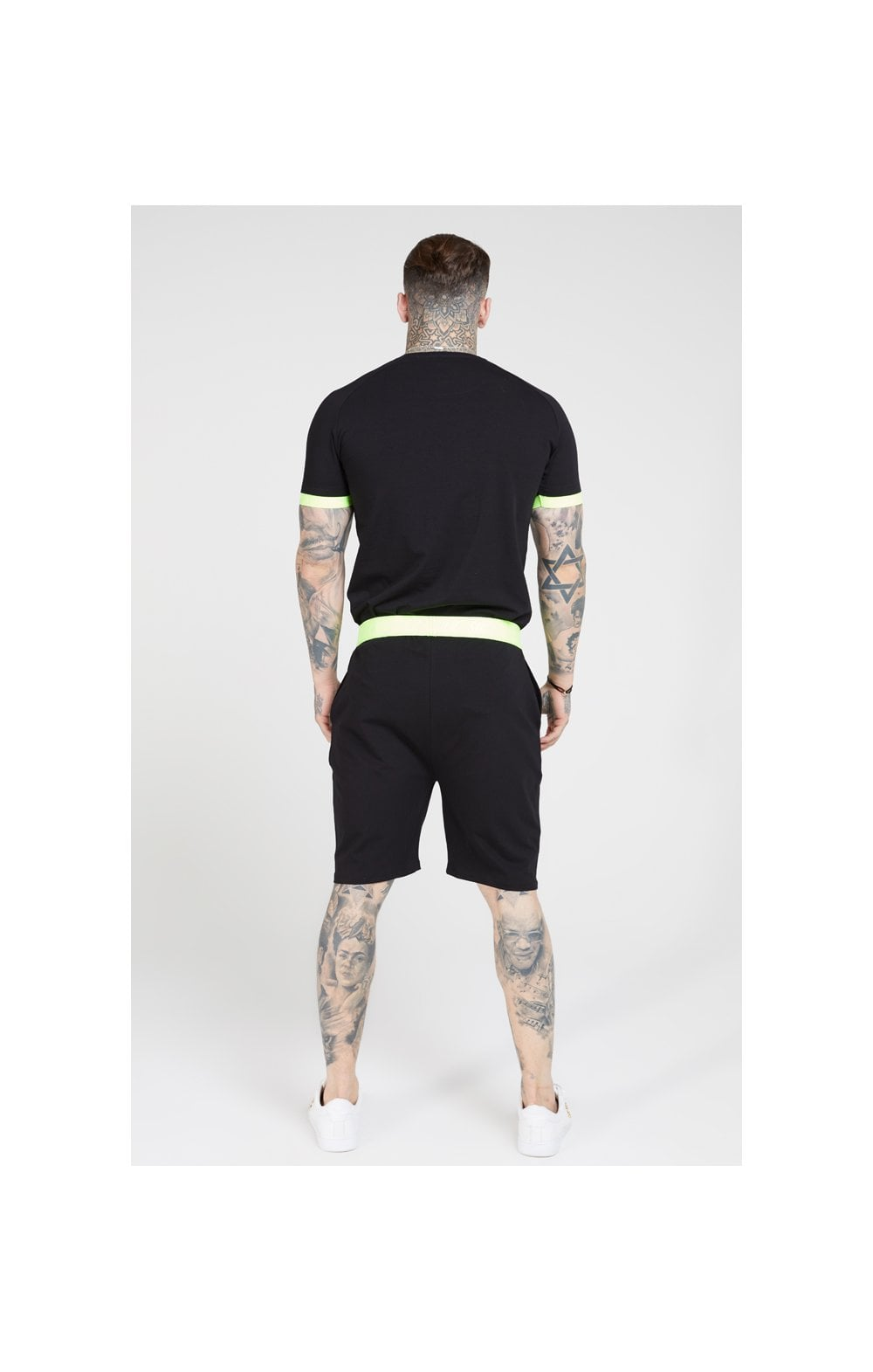 SikSilk Relaxed Fit Shorts – Black & Neon Yellow (5)