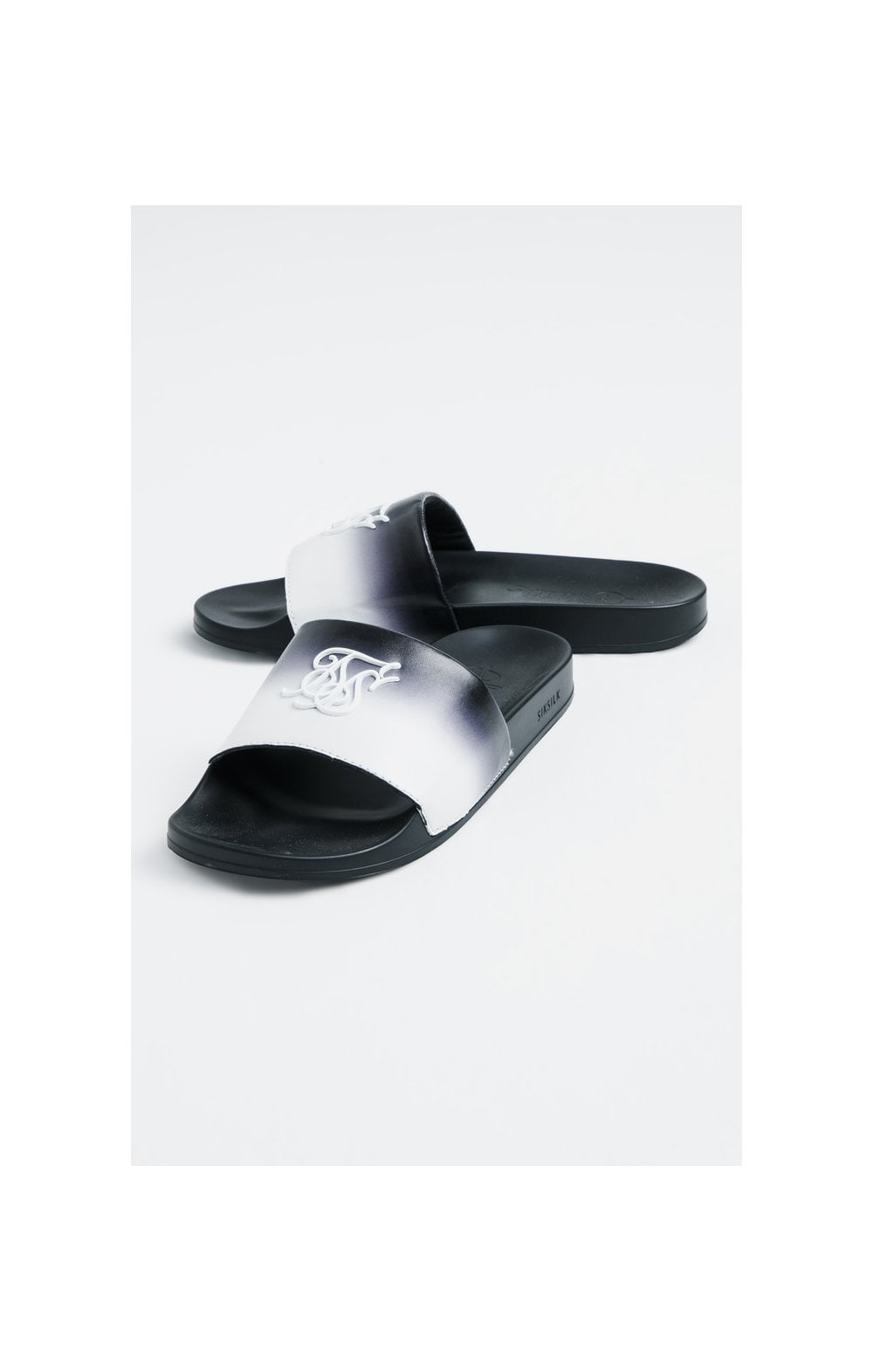 SikSilk Roma Fade Slides – Black & White (2)
