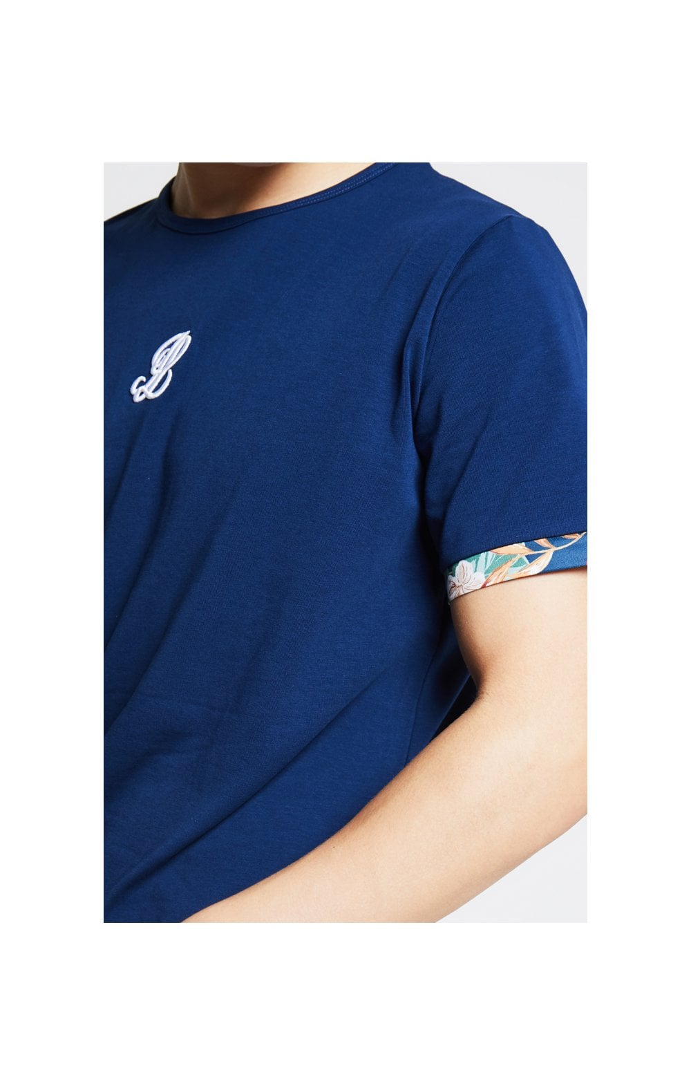 Illusive London Contrast Cuff Tee – Teal & Tropical Leaf (1)