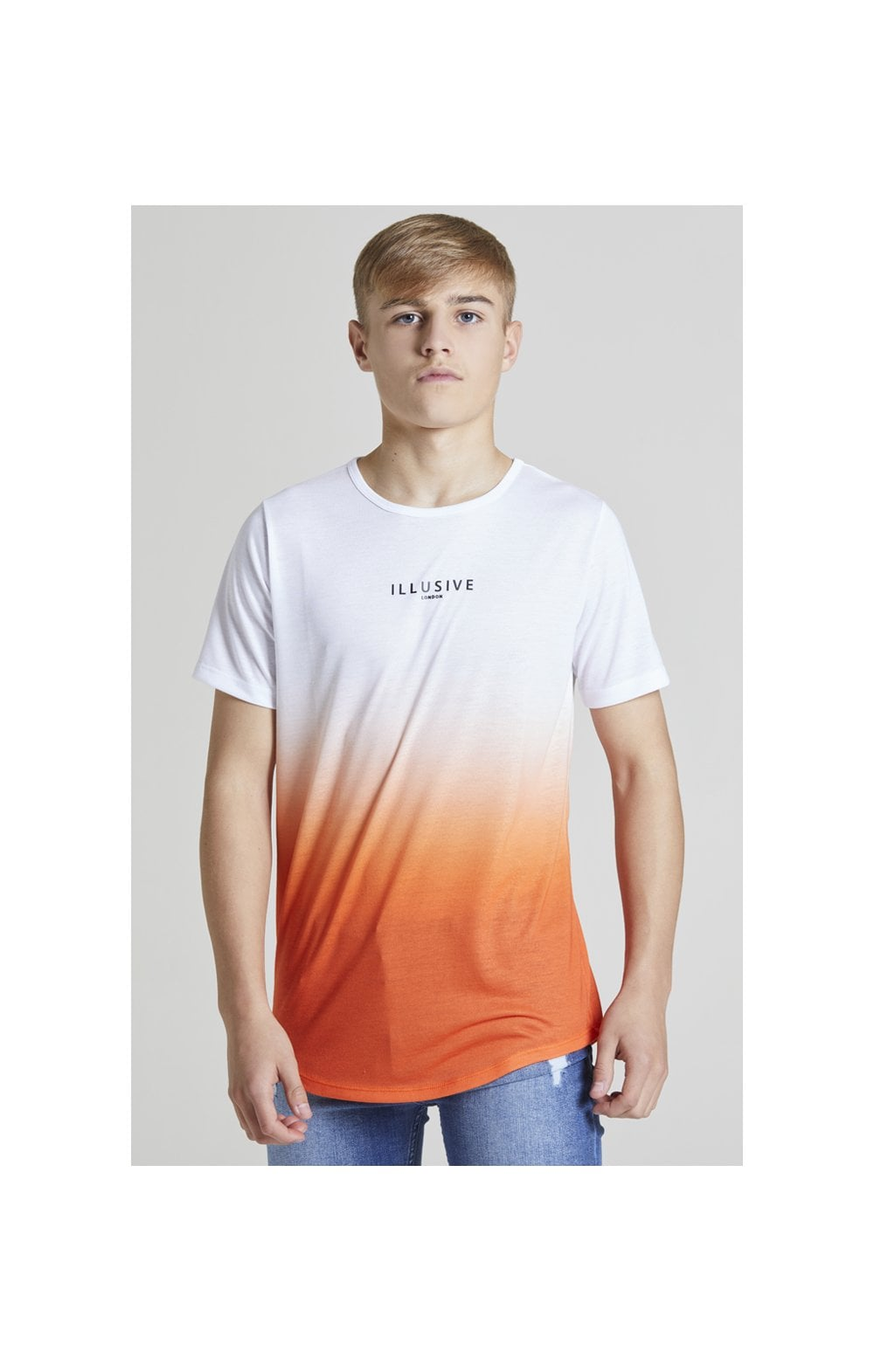 Illusive London Core Fade Tee – White & Orange