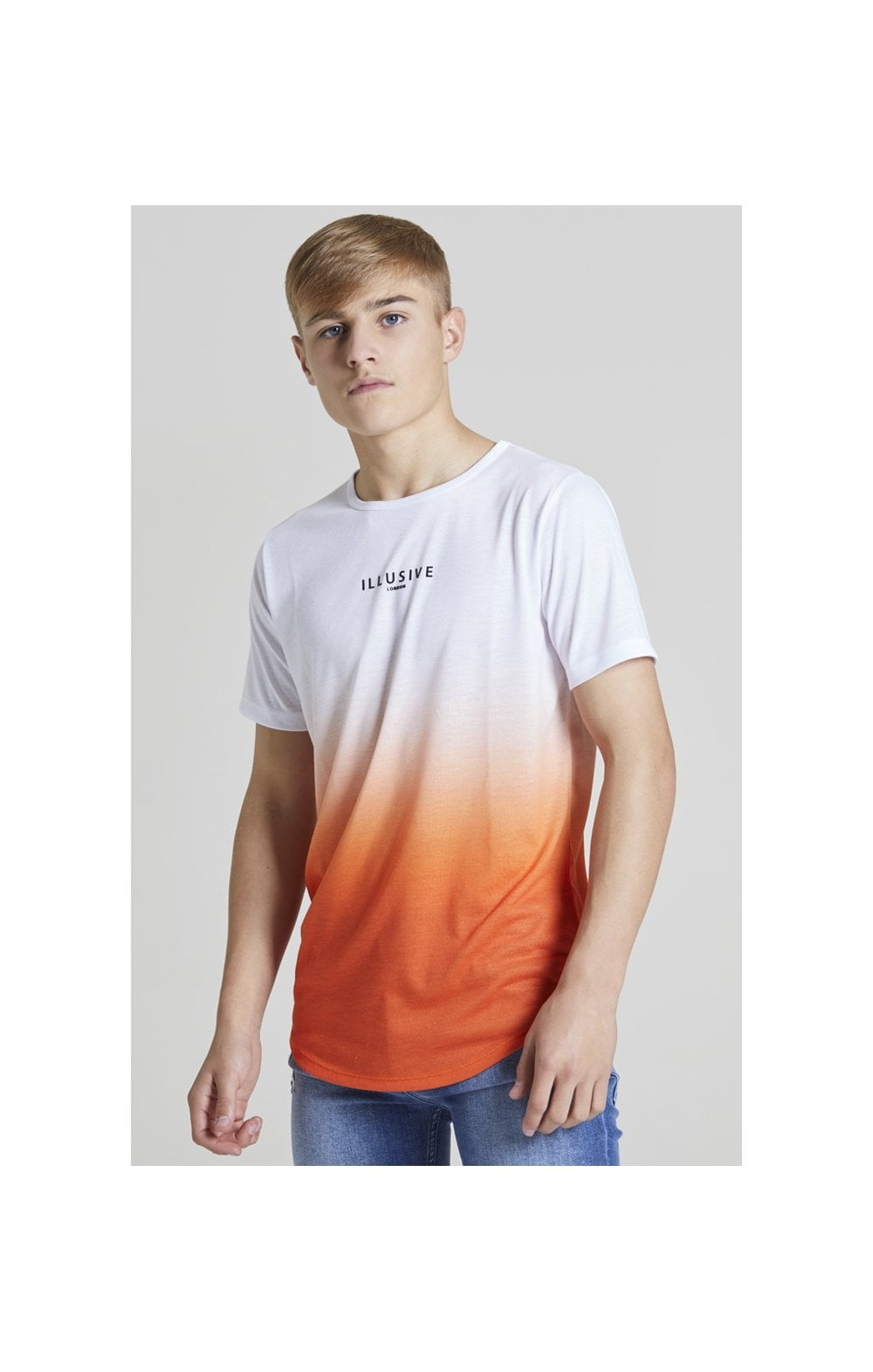 Load image into Gallery viewer, Illusive London Core Fade Tee – White & Orange (1)