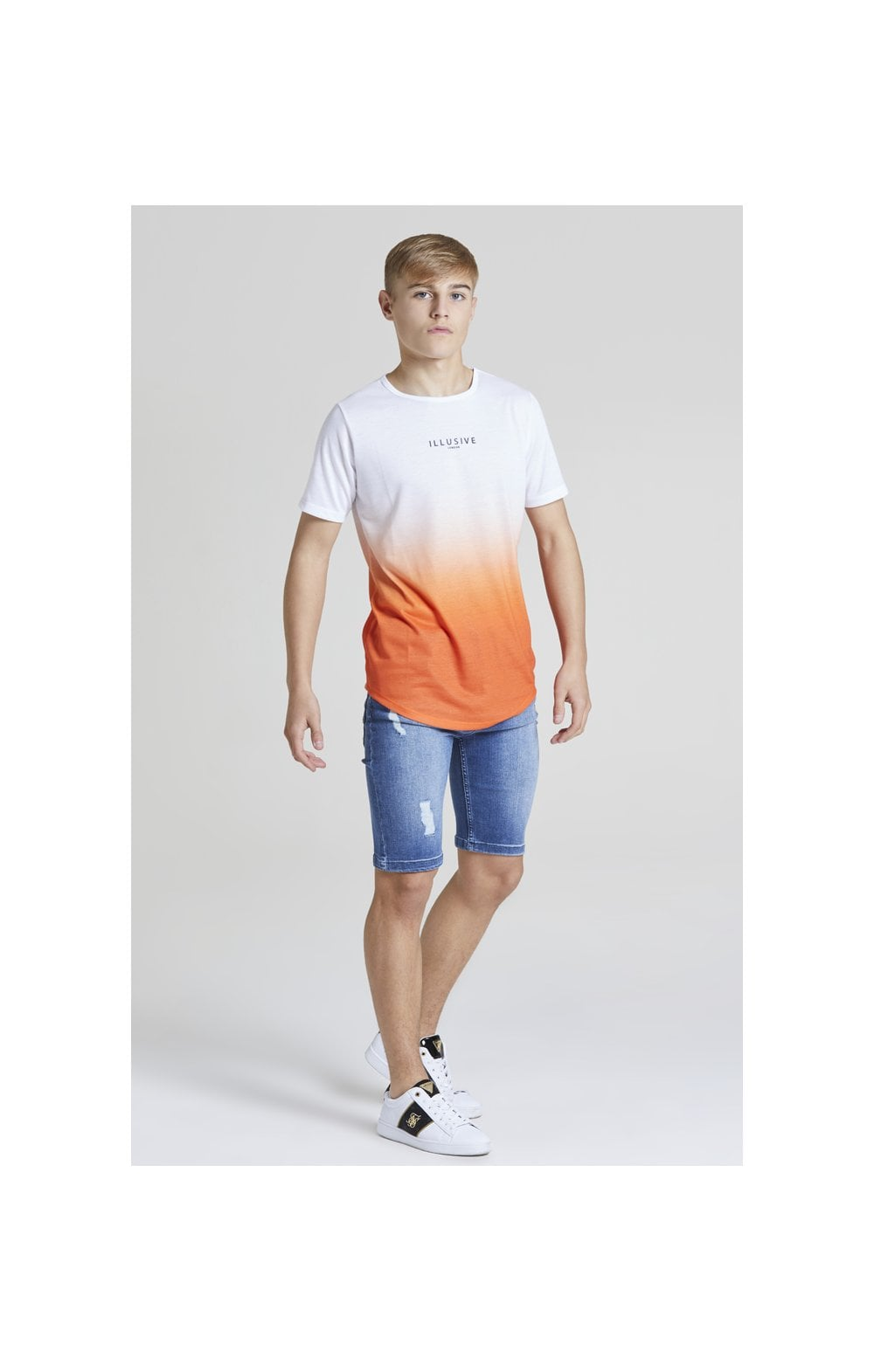 Load image into Gallery viewer, Illusive London Core Fade Tee – White & Orange (2)
