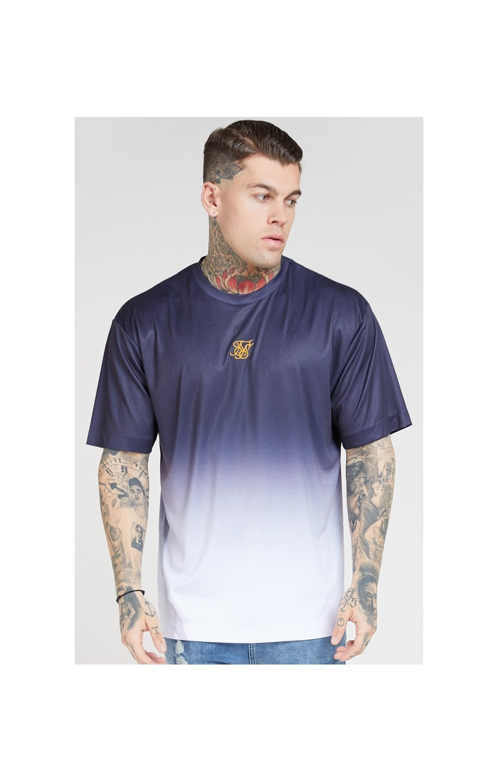 SikSilk S/S Essential Tee - Navy & White